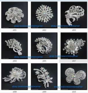 pin Swarovski Crystal Rhinestone Wedding Bridal Party Flower Brooch