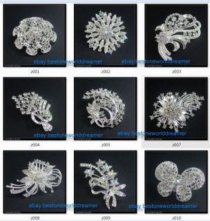 pin Swarovski Crystal Rhinestone Wedding Bridal Party Flower Brooch
