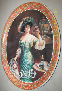 PEPSICOLA 5 Cent Metal Tray Delicious Healthful Buxom Woman w/Hat