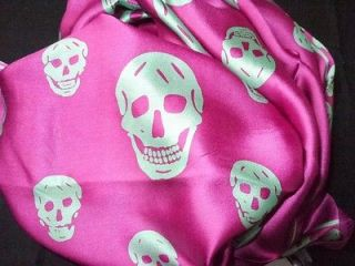 Lime skulls Hot Pink Charmeuse Silk scarf Mcqueen Mqueen NWOT