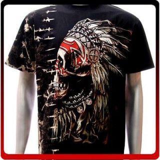 b21 Survivor T shirt Sz L Tattoo STUD Skull Ghost Indian Rock Retro