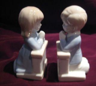 Roman Praying Little Girl & Boy Light BLue Alter Chu rch 2 Pc Set
