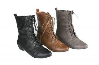 REFRESH lee 01 womens mid calf combat boots shoes lace up boots