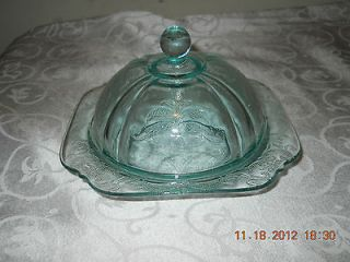Indiana Glass Madrid Teal Covered Butter Dish
