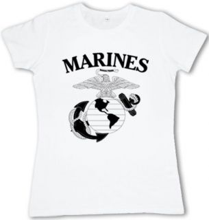 US United States Marines USMC Marine Corps Ladies white t shirt womens