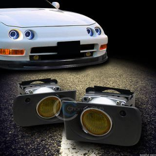JDM YELLOW CLEAR FRONT BUMPER FOG LIGHTS LAMPS+SWITCH 94 01 ACURA