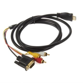 Gold HDTV HDMI to VGA HD15 3 RCA Adapter Cable