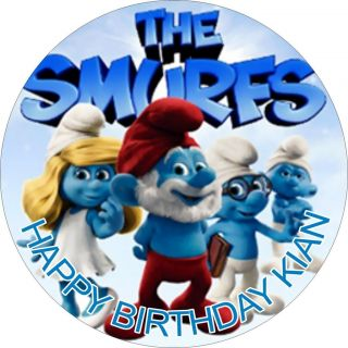 THE SMURFS RICE PAPER BIRTHDAY CAKE TOPPERS
