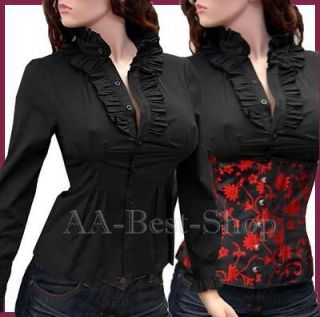 Sexy Long Sleeved Shirt Ruffles Blouse Top Black   (XXL)