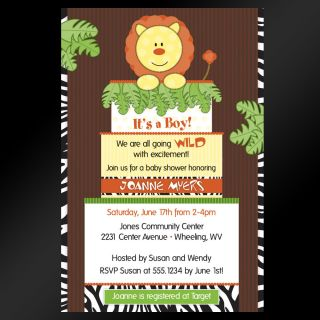 Jungle Safari Zoo Cake Baby Shower Birthday Invitations   Set of 10