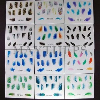 Utlra Thin Colorful Faux Bird Peacock Feather Stickers Sheets Decals