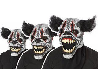 Mens Scary Creepy Evil Bad Clown Costume Motion Mask
