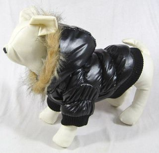 Black Waterproof Quilted Puffa Dog Coat New 9 XS TINY Teacup
