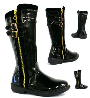 GIRLS KIDS BUCKLE STRAP GOLD ZIP CUBAN HEELS BABY KNEE HIGH BOOTS