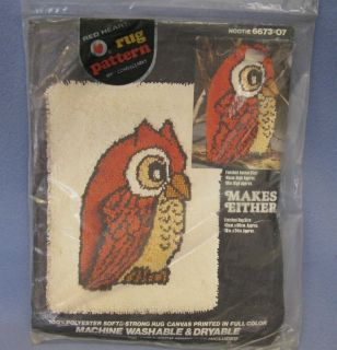 Vintage Red Heart Latch Hook Rug Pattern, Canvas, Hootie