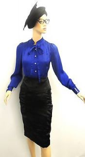 Royal Blue Vtg style Slinky Sissy Satin Pussy Bow Shirt Blouse High