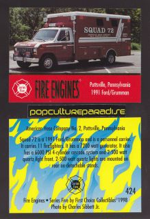 1991 FORD / GRUMMAN PERSONNEL CARRIER FIRE TRUCK ENGINE CARD