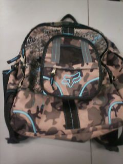 New Fox Racing Girls Blue Green Camo Camouflage Backpack Book School