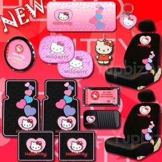 NEW Hello Kitty Low Back Car Seat Covers Steering Wheel Mats CD Key