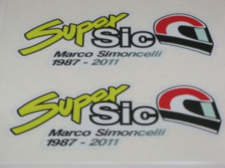 Marco Simoncelli 58 Super Sic stickers large 125mm x 50mm   x2