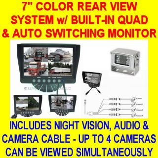 QUAD COLOR REAR VIEW BACKUP SYSTEM SAFETY CAR PICKUP TRUCK TRAILER