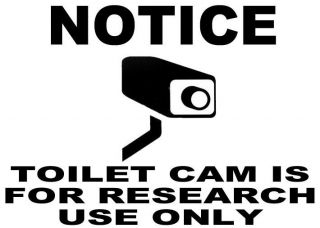 QUANTITY 5 NOTICE TOILET CAM RESEARCH STICKER DECAL SIGN 4X4 INCH
