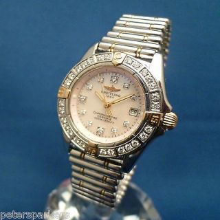 & GOLD BREITLING WINDRIDER CALLISTO DIAMOND SET QUARTZ WRISTWATCH