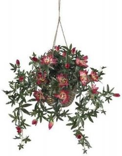 NATURAL 24 Passion Flower Hanging Basket   Silk Flower Arrangement