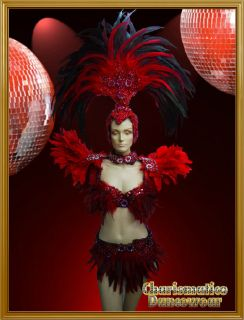 Charismatico Red Drag Queen SAMBA RIO CARNIVAL Feather Headdress BRA