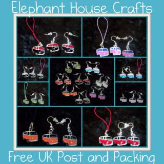 VW Camper Van Dub ~ Fun Glitzy Kitsch Earrings Phone Charms ~ Free