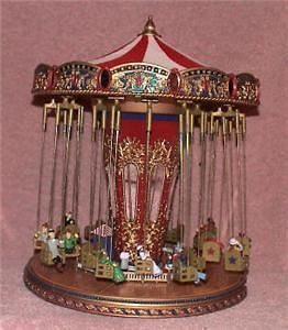 79841 SWING CAROUSEL WORLDS FAIR MR CHRISTMAS MUSIC BOX MINI VILLAGE