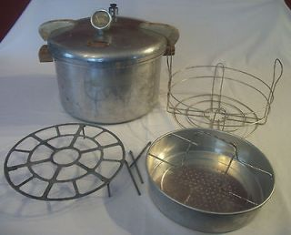VTG 16 Qt National Pressure Cooker #7 1947 Canner w Accessories