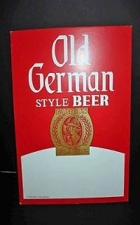 VTG OLD GERMAN STYLE BEER ADVERTISING CARDBOARD SIGN 14 X 11 RARE
