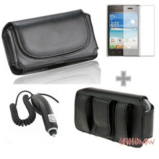 Leather Sleeve Pouch Protect Case+Car Charger+Screen Protector for LG