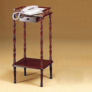 Cherry Finish Accent Table w/ Drawer and Shelf   Telephone Stand