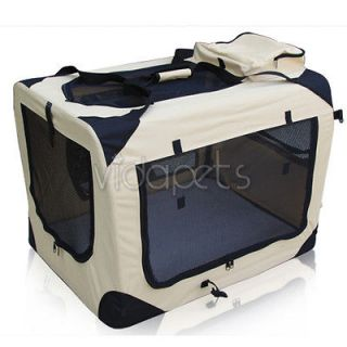 36 Beige Heavy Duty Travel Soft Foldable Dog Cage Crate Kennel