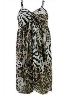 Pretty Angel Clothing Womens Dress Brown Leopard Print Summer