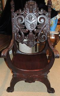 19th Century English carved mahogany throne style chair