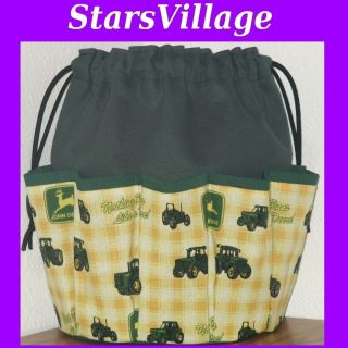 Deere Tractors on HUNTER GREEN CANVAS BINGO TOTE BAG 10 DAUBER POCKETS