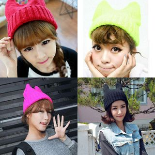 New Fashion Cute Lovely Cats Ear Knitted Hat Cap Devil Angle Hats