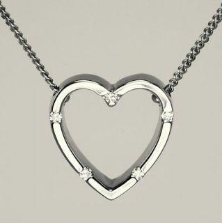 Roberto Coin 18ct white gold Parisienne Diamond Heart Pendant & chain