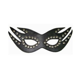Black Studded Leather Masquerade Party Ball Fantasy Cats Eye Face Mask