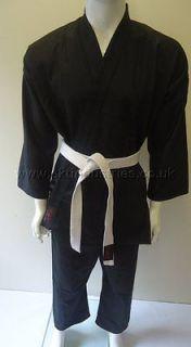 SKT Black 8oz Karate Suit Gi Poly Cotton Kids Children Sizes +Free