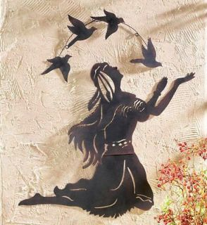 Native American Indian Woman and Birds Metal Wall Art Home Decor