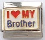 LOVE MY BROTHER 9mm ENAMEL ITALIAN CHARM LINK HEART FAMILY SISTER