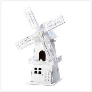 White Shabby Distressed Windmill Birdhouse Bird House Wood