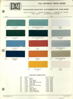 1966 CHEVROLET TRUCK Color Chip Paint Chart Brochure R M, RM