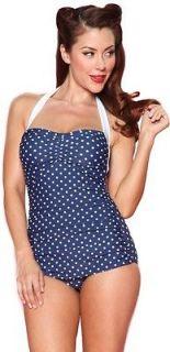 ESTHER WILLIAMS GIRL HOWDY 50s 1P Navy Blue Polka Dot Swimsuit Halter