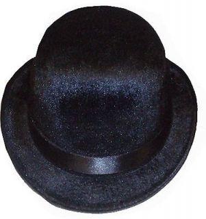 CHARLIE CHAPLIN UNISEX BLACK FELT VELOUR BOWLER HAT FANCY DRESS