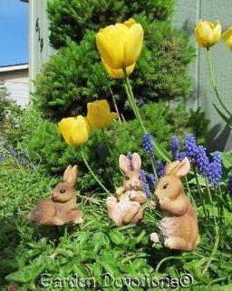 SMALL BUNNY RABBIT GARDEN STAKES Indoor Outdoor Statues SET OF 3